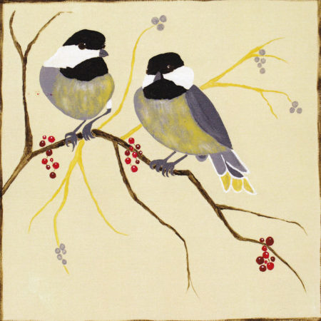 Chickadees & Berries 12x12