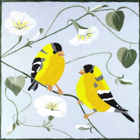 Finches & Morning Glory 12x12