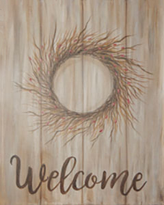 Welcome Berry Wreath 16x20